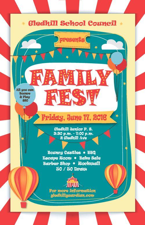 Gledhill Family fest poster media 2015-16