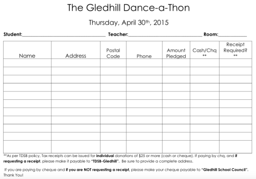 Dance-a-Thon Pledge Form